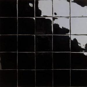 Glossy black glazed tiles