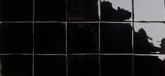 Glossy black glazed tiles