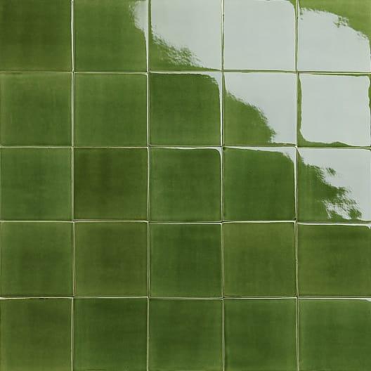 Green glossy glazed tiles