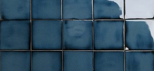Iridescent indigo glazed tiles