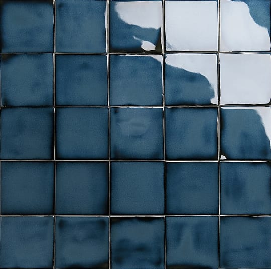 Iridescent indigo glazed tiles