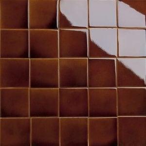 Iridescent red glazed tiles