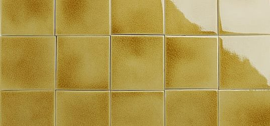 Iridescent yellow glazed tiles