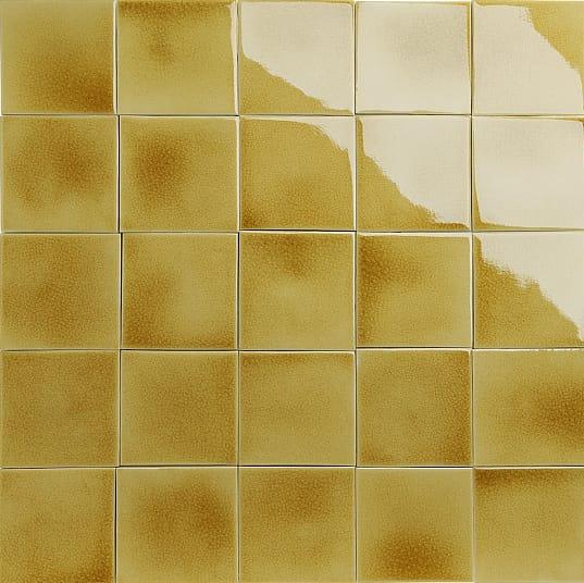 Iridescent yellow glazed tiles