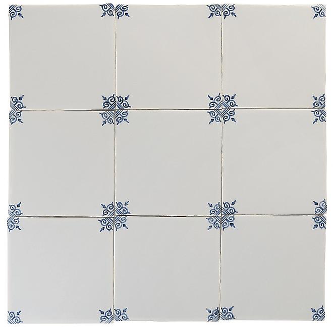 corner decoration blue white glazed tiles