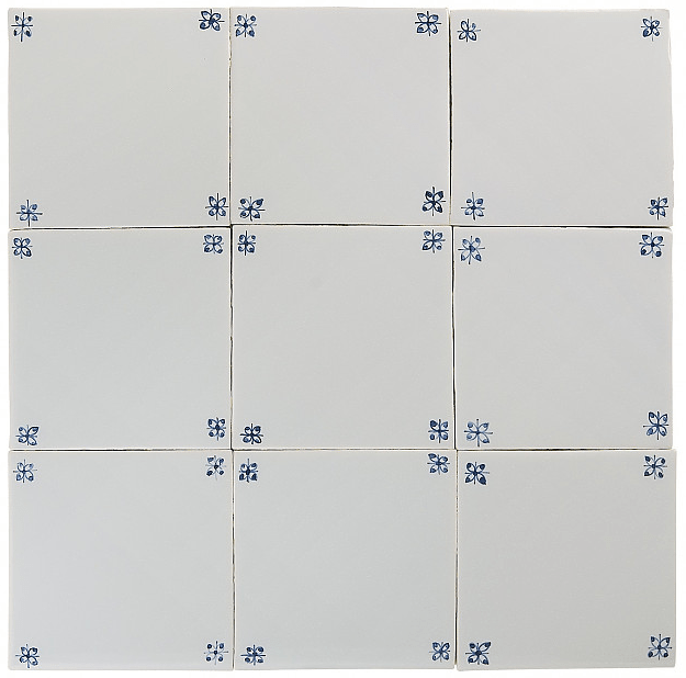 spider corner blue white glazed tiles